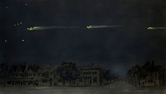 ???This painting by artist and amateur astronomer Gustav Hahn depicts the meteor procession of Feb. 9, 1923 as observed in High Park, Toronto. Hahn estimated that the fireballs passed about halfway between Rigel and the Belt of Orion.