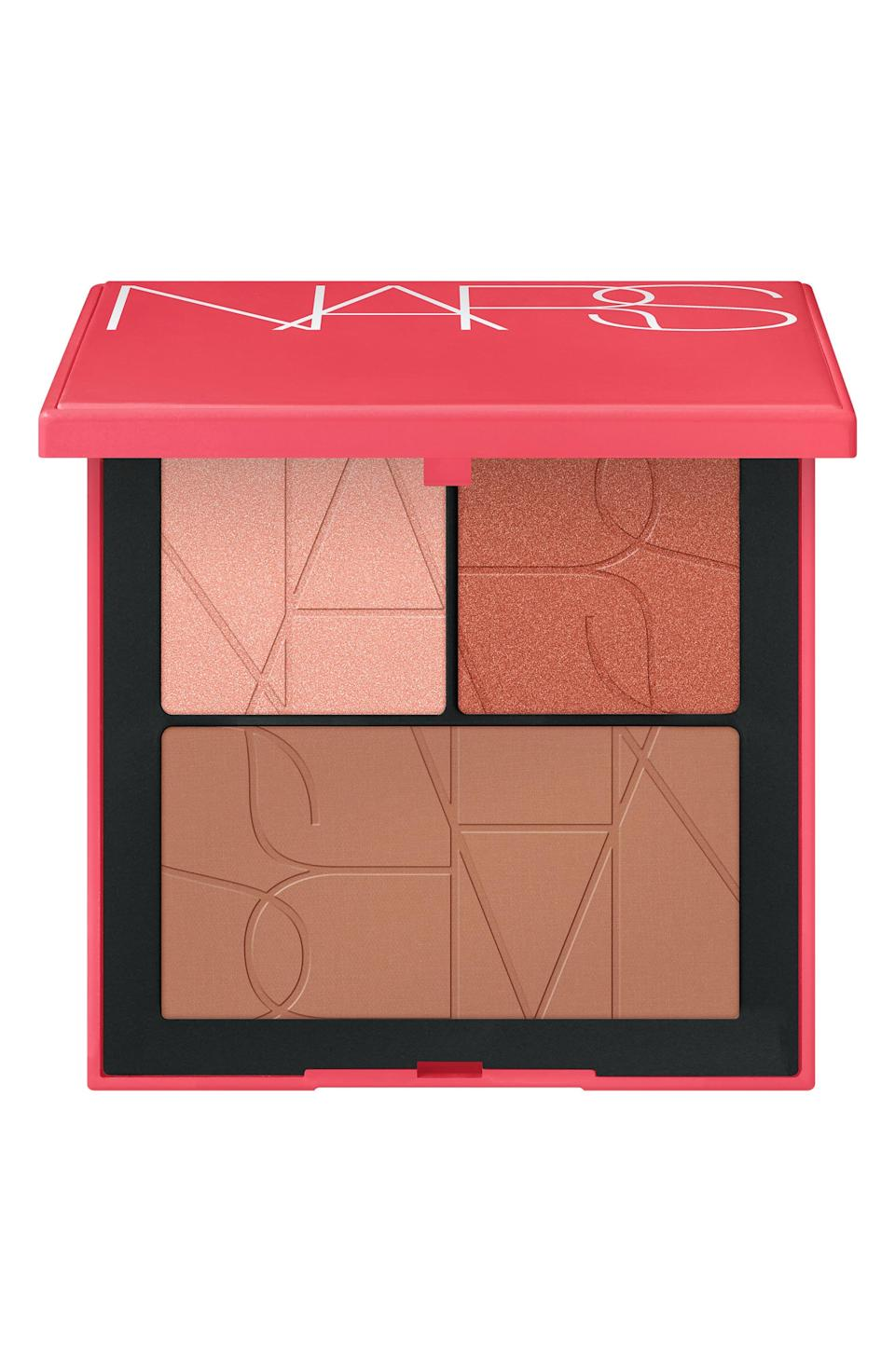 """<p><strong>NARS</strong></p><p>nordstrom.com</p><p><strong>$45.00</strong></p><p><a href=""""https://go.redirectingat.com?id=74968X1596630&url=https%3A%2F%2Fwww.nordstrom.com%2Fs%2Fnars-pleasure-trip-cheek-palette-87-value%2F5913151&sref=https%3A%2F%2Fwww.elle.com%2Fbeauty%2Fg36944650%2Fnorstrom-anniversary-beauty-sale-2021%2F"""" rel=""""nofollow noopener"""" target=""""_blank"""" data-ylk=""""slk:Shop Now"""" class=""""link rapid-noclick-resp"""">Shop Now</a></p><p>For a post-smooch glow, this palette has a bronzing powder, highlight and blush that you can throw in your purse for on-the-go touch-ups.</p>"""