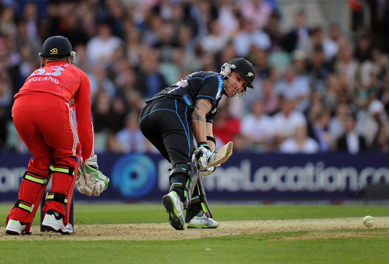 New Zealand's Brendon McCullum bats during the Natwest International Twenty20 match at the Kia Oval, London.