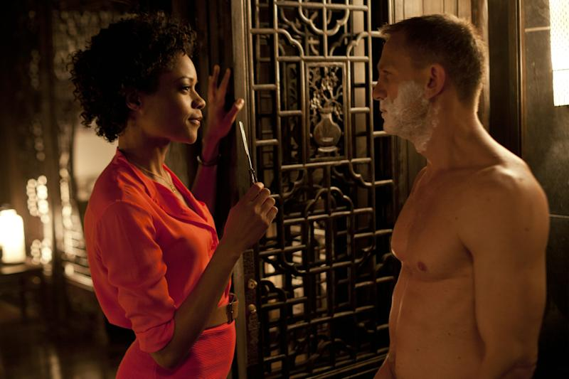 Naomie Harris' Eve has a close shave with Daniel Craig's Bond in 2012's Skyfall. (Sony Pictures)