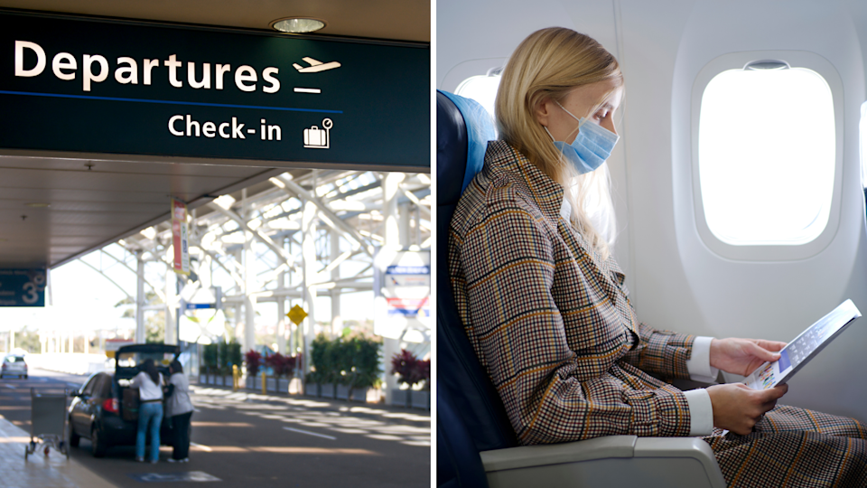 The departures lounge at Sydney Airport and a woman on a plane wearing a mask.
