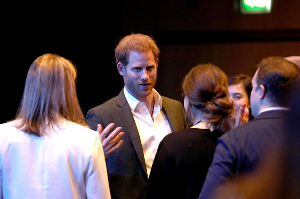 Prince Harry, Duke of Sussex greets guests as he attends a sustainable tourism summit at the Edinburgh International Conference Centre on February 26, 2020 in Edinburgh, Scotland.