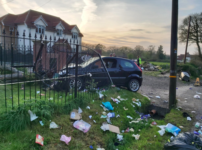 The driver crashed into a fence at a home in Chelmsford while driving during lockdown. (Twitter/@EP_RPU_South)