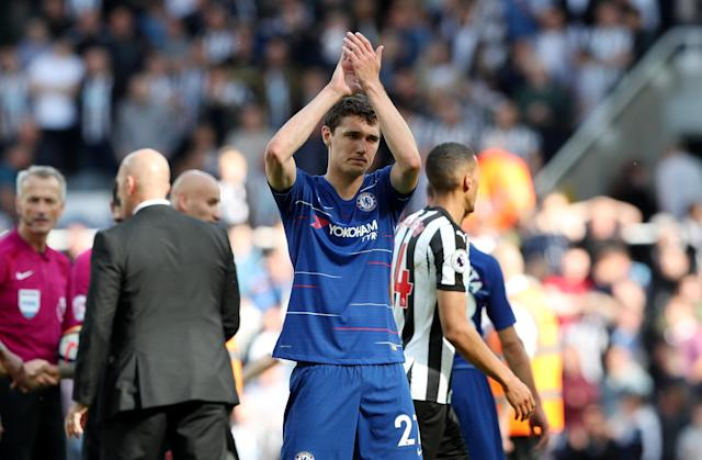 "Soccer Football - Premier League - Newcastle United vs Chelsea - St James' Park, Newcastle, Britain - May 13, 2018 Chelsea's Andreas Christensen applauds fans after the match REUTERS/Scott Heppell EDITORIAL USE ONLY. No use with unauthorized audio, video, data, fixture lists, club/league logos or ""live"" services. Online in-match use limited to 75 images, no video emulation. No use in betting, games or single club/league/player publications. Please contact your account representative for further details."