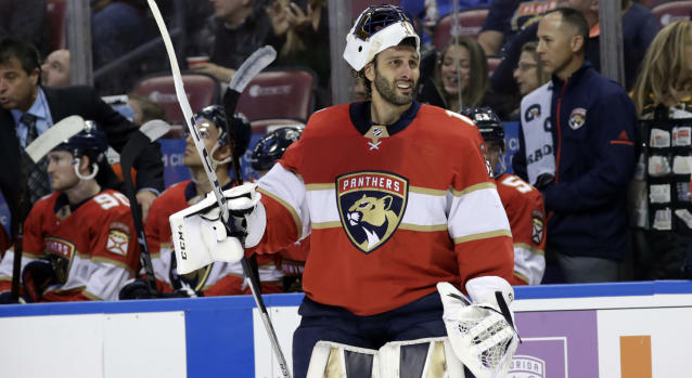 Roberto Luongo's new mask has an ubelievable design. (AP Photo/Lynne Sladky)