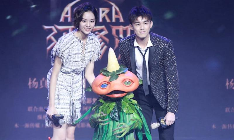 Actors Zhang Yishang and Wu Lei at the press conference of Asura in January 16, 2018 in Beijing, China.