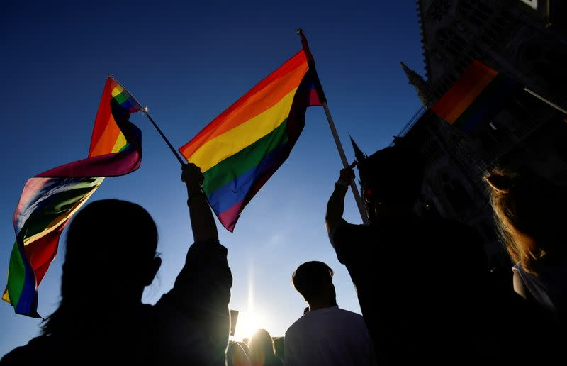 FILE PHOTO: FILE PHOTO: Demonstrators protest against Hungarian Prime Minister Viktor Orban and the latest anti-LGBTQ law in Budapest, Hungary, June 14, 2021