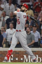 St. Louis Cardinals third baseman Matt Carpenter (13) watches his his RBI single in the eighth inning during Game 1 of a best-of-five National League Division Series agaimst the Atlanta Braves, Thursday, Oct. 3, 2019, in Atlanta. (AP Photo/John Bazemore)