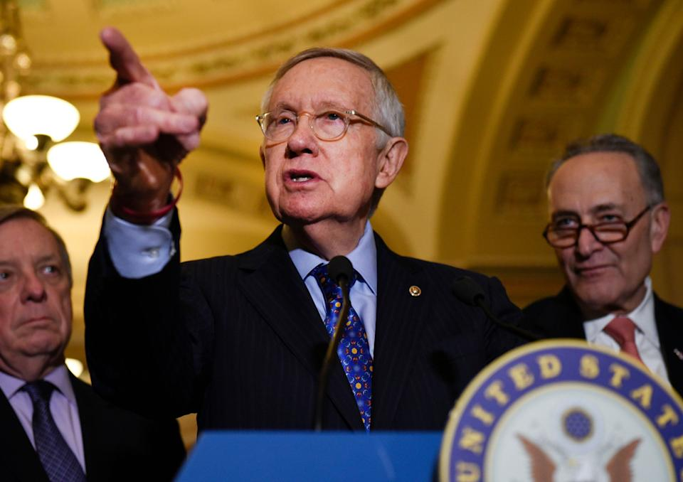 """Former Senate Majority Leader Harry Reid spoke out about President Donald Trump:""""He'll lie. He'll cheat. You can't reason with him."""" (Photo: ASSOCIATED PRESS)"""