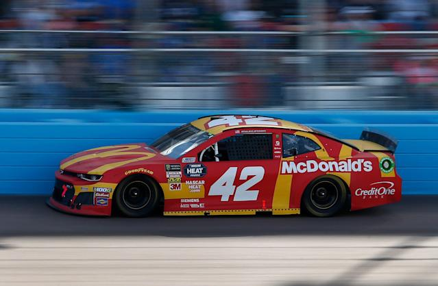 Kyle Larson made up 25 spots during Sunday's race. (AP Photo/Ralph Freso)