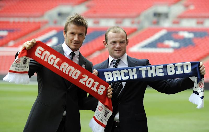 David Beckham (left) and Wayne Rooney campaigning for England's 2018/2022 World Cup bid at Wembley Stadium in London in 2009 (AFP Photo/Adrian Dennis)