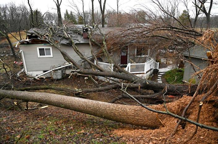 Several trees fell on a home and property on Overbrook Drive in New Windsor, Md., Friday, Feb. 7, 2020, following a winter storm.