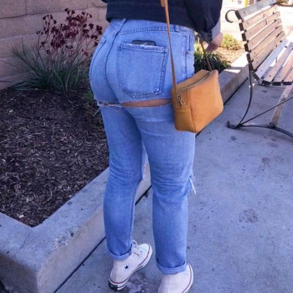 Taking to Instagram, the 23-year-old Riverdale star shared a photo revealing her blue jeans ripped in an oh so inconvenient place, right near her bottom. Source: Instagram/camimendes