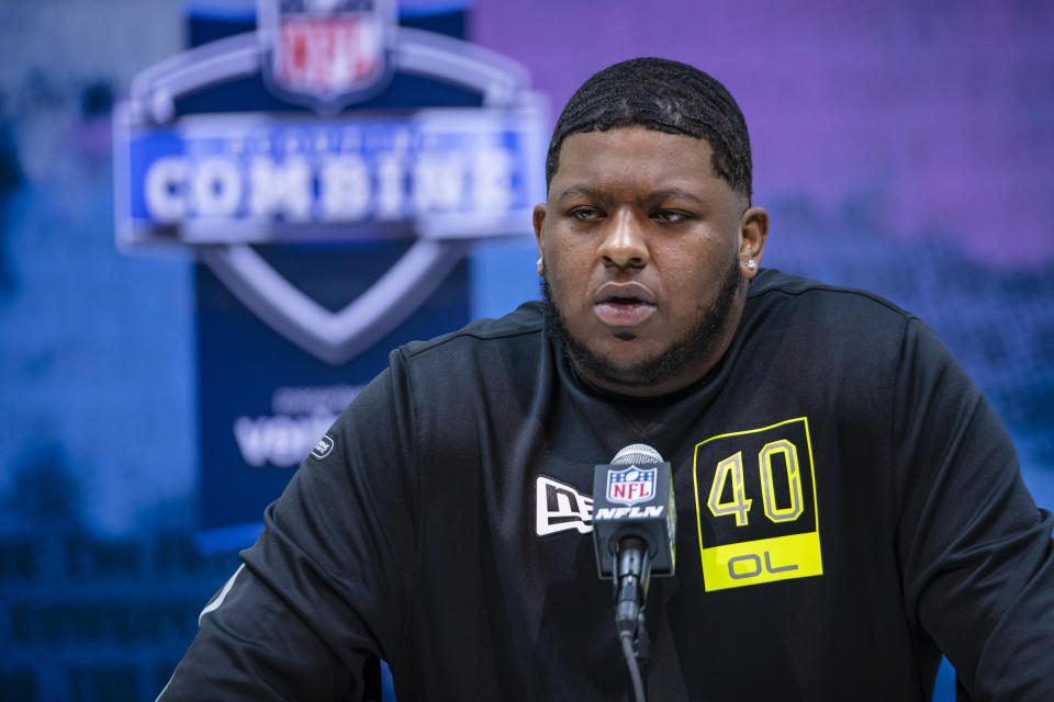 Michigan C Cesar Ruiz has overcome a lot in his life, including losing his father when he was 8. (Photo by Michael Hickey/Getty Images)