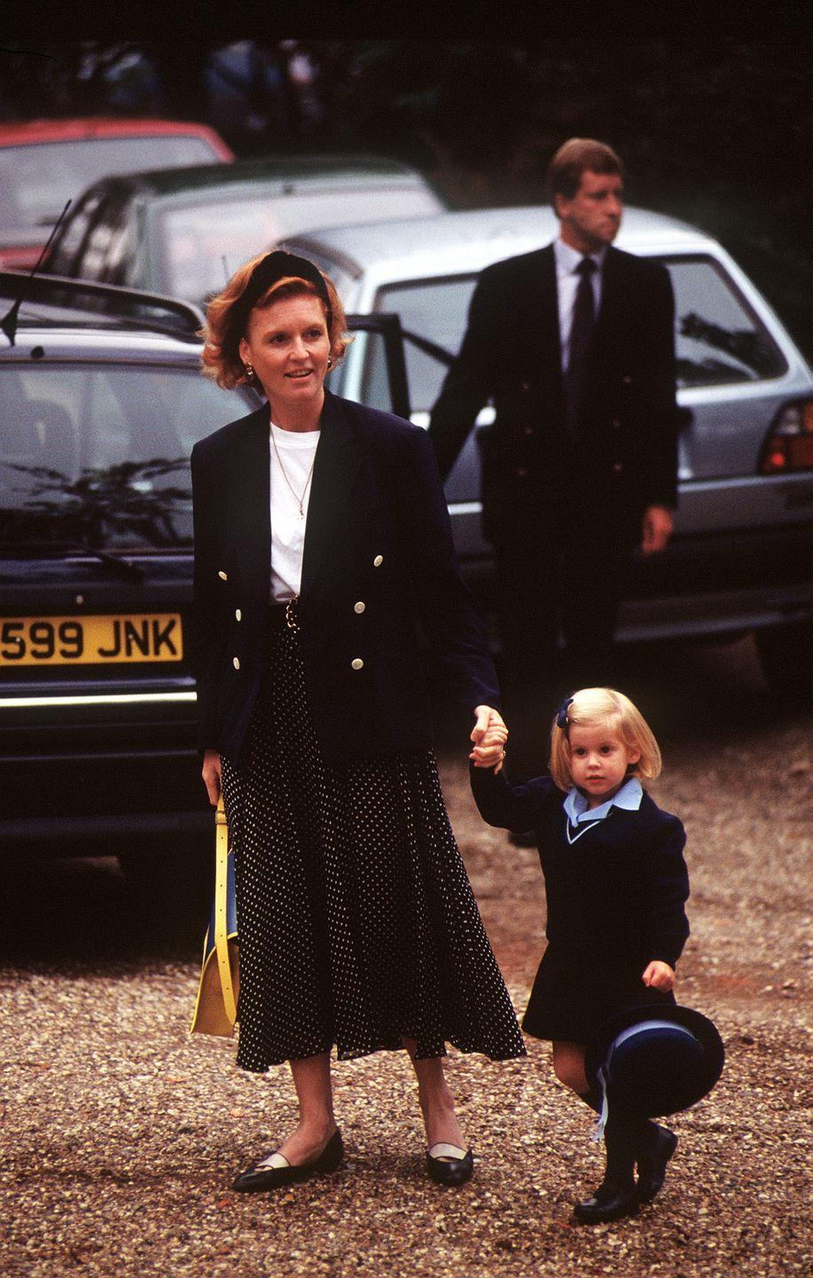 <p>How cute is baby Beatrice?! The four-year-old princess was brought to her first day at Upton House School in Windsor by her mum, Sarah Ferguson, on September 11, 1991.</p>