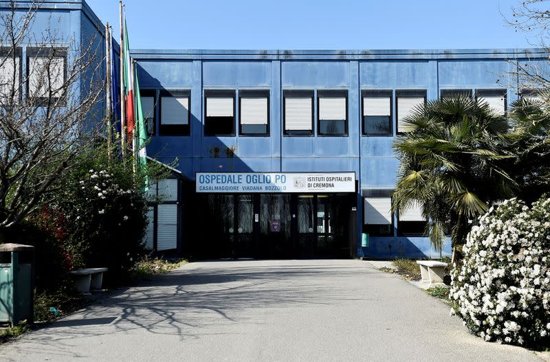 FILE PHOTO: The Oglio Po hospital, where patients suffering from coronavirus disease (COVID-19) are treated, is pictured in Cremona