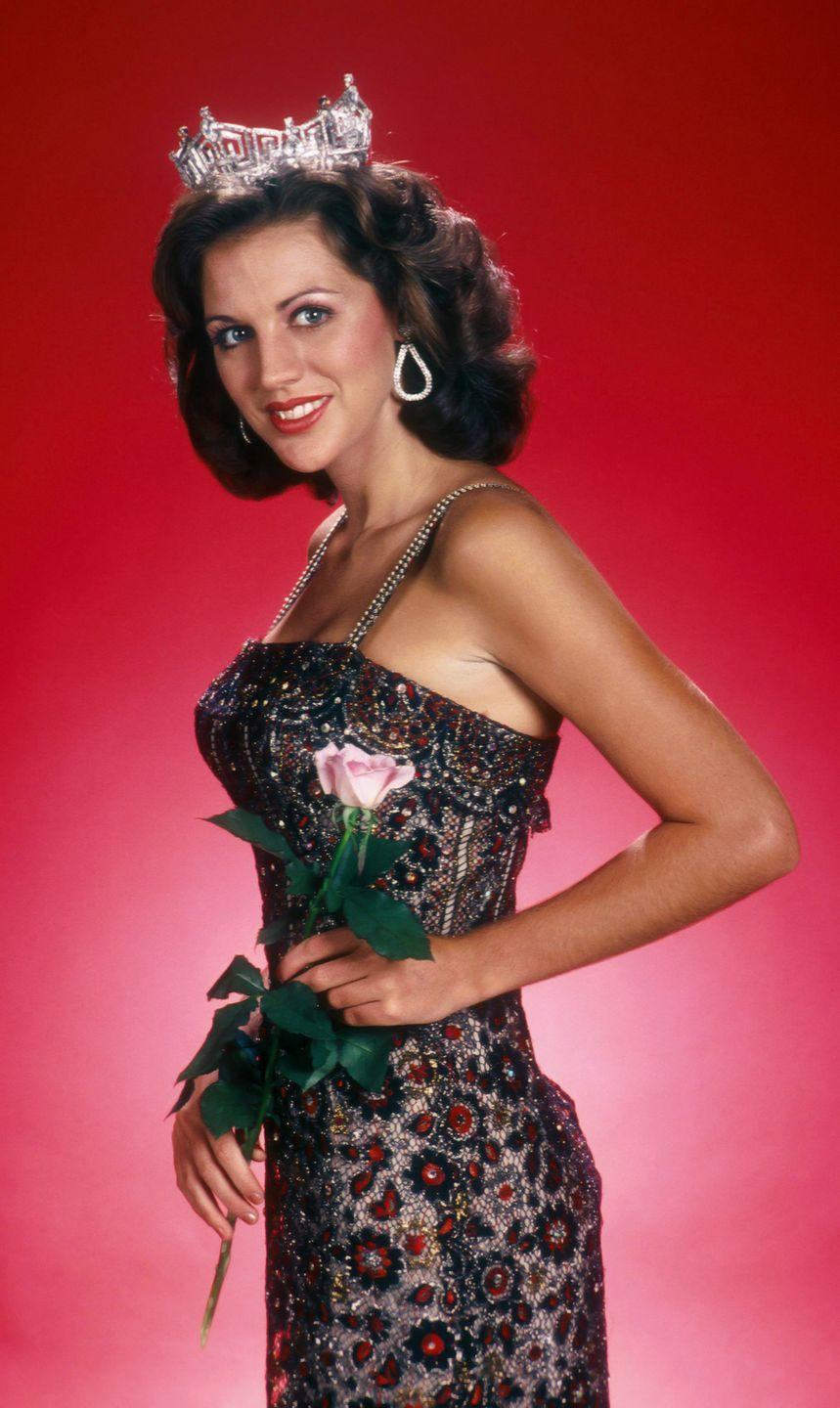 <p>Cheryl Prewitt looked lovely in this black and red beaded number. Everything came up roses for this beauty, who won the title in 1980. </p>