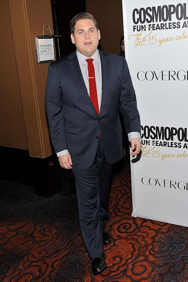 """One of the magazine's Fun Fearless Male recipients was none other than Oscar nominee Jonah Hill. The actor -- who'll star in the upcoming movie version of """"21 Jump Street"""" -- recently lost 40 pounds. """"I feel healthy and strong,"""" he told Cosmopolitan. """"Last weekend, I went with Ben Stiller to a  crazy kickboxing class, and I was kicking ass. I just really enjoy being  in good shape."""" (3/5/2012)"""