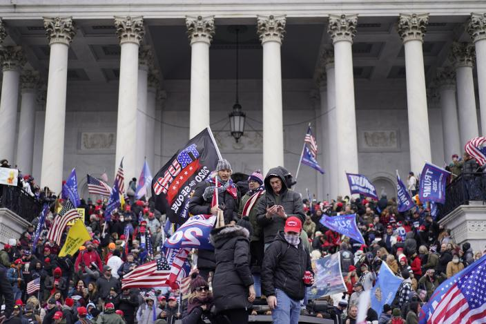 WASHINGTON, DC - JANUARY 06:  Protesters gather storm the Capitol and halt a joint session of the 117th Congress on Wednesday, Jan. 6, 2021 in Washington, DC. (Kent Nishimura / Los Angeles Times via Getty Images)