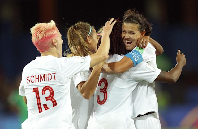 Kadeisha Buchanan of Canada celebrates with teammates after scoring her team's first goal during the 2019 FIFA Women's World Cup France group E match between Canada and Cameroon at Stade de la Mosson on June 10, 2019 in Montpellier, France. (Photo by Johannes Simon - FIFA/FIFA via Getty Images)