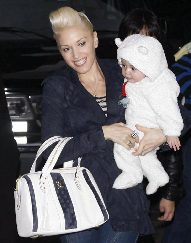 "With son Kingston James Rossdale during a ""The Late Show with David Letterman"" appearance on Dec. 12, 2006."