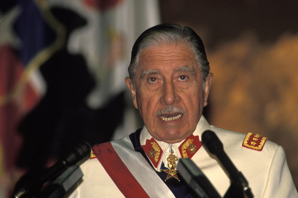 Military Dictator of Chile General Augusto Pinochet speaking. Photo taken in the 1980s. (Photo by Greg Smith/Corbis via Getty Images)