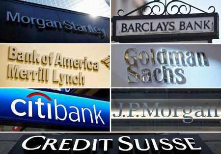 FILE PHOTO - A combination file photo shows international banks Morgan Stanley, Barclays, Goldman Sachs, JPMorgan, Credit Suisse, Citigroup and Bank of America Merrill Lynch from Reuters archive.  REUTERS/File photos