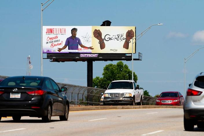 Columbus digital artist Davian Chester made a Google Doodle in honor of Juneteenth. Now, he might have a job with the tech giant. His friends put up this billboard on 13th Street to celebrate his doodle.