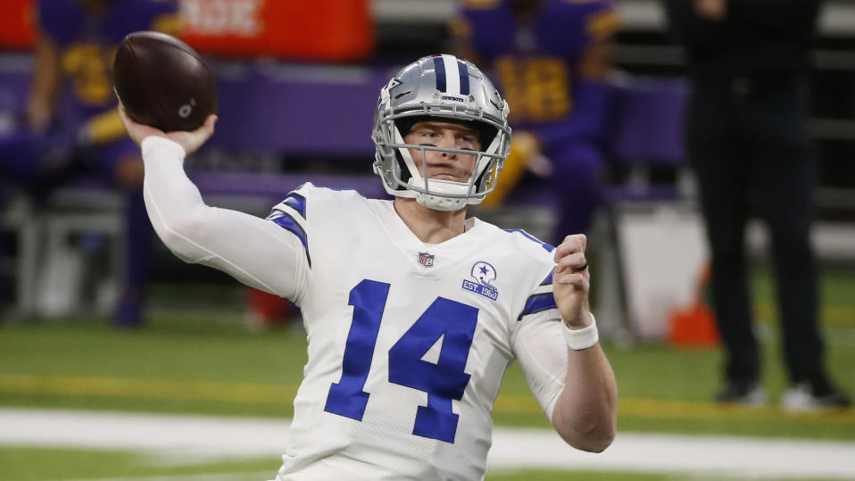 Dallas Cowboys quarterback Andy Dalton throws a pass during an NFL football game against the Minnesota Vikings, Sunday, Nov. 22, 2020, in Minneapolis. (AP Photo/Bruce Kluckhohn)