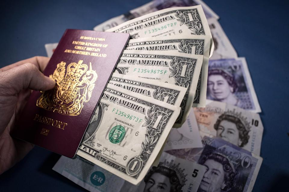 Pound pressure: Sterling is close to parity with the euro and dollar at airport currency brokers. Photo: Matt Cardy/Getty Images
