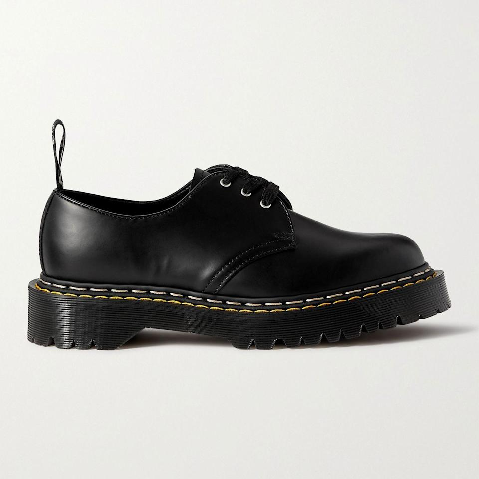 """<p><strong>RICK OWENS + Dr. Martens</strong></p><p>mrporter.com</p><p><a href=""""https://go.redirectingat.com?id=74968X1596630&url=https%3A%2F%2Fwww.mrporter.com%2Fen-us%2Fmens%2Fproduct%2Frick-owens%2Fshoes%2Fderby-shoes%2Fplus-dr-martens-bex-leather-derby-shoes%2F46353151654674560&sref=https%3A%2F%2Fwww.esquire.com%2Fstyle%2Fmens-fashion%2Fg36651914%2Fmr-porter-sale-june-2021%2F"""" rel=""""nofollow noopener"""" target=""""_blank"""" data-ylk=""""slk:Shop Now"""" class=""""link rapid-noclick-resp"""">Shop Now</a></p><p><del>$300.00</del> <strong>$150.00 (50% off)</strong> </p><p>Summer stompers, courtesy of Dr. Martens and the dark lord of fashion.</p>"""