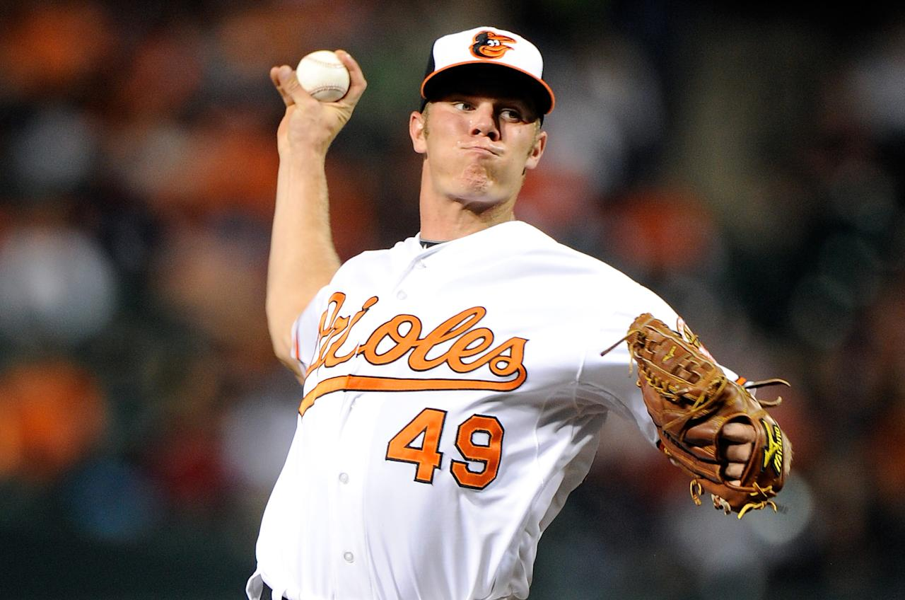 BALTIMORE, MD - SEPTEMBER 25:  Dylan Bundy #49 of the Baltimore Orioles pitches against the Toronto Blue Jays at Oriole Park at Camden Yards on September 25, 2012 in Baltimore, Maryland.  (Photo by Greg Fiume/Getty Images)