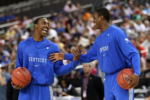 NEW ORLEANS, LA - MARCH 30: Marquis Teague #25 and Doron Lamb #20 of the Kentucky Wildcats talk during practice prior to the 2012 Final Four of the NCAA Division I Men's Basketball Tournament at the Mercedes-Benz Superdome on March 30, 2012 in New Orleans, Louisiana. (Photo by Jeff Gross/Getty Images)
