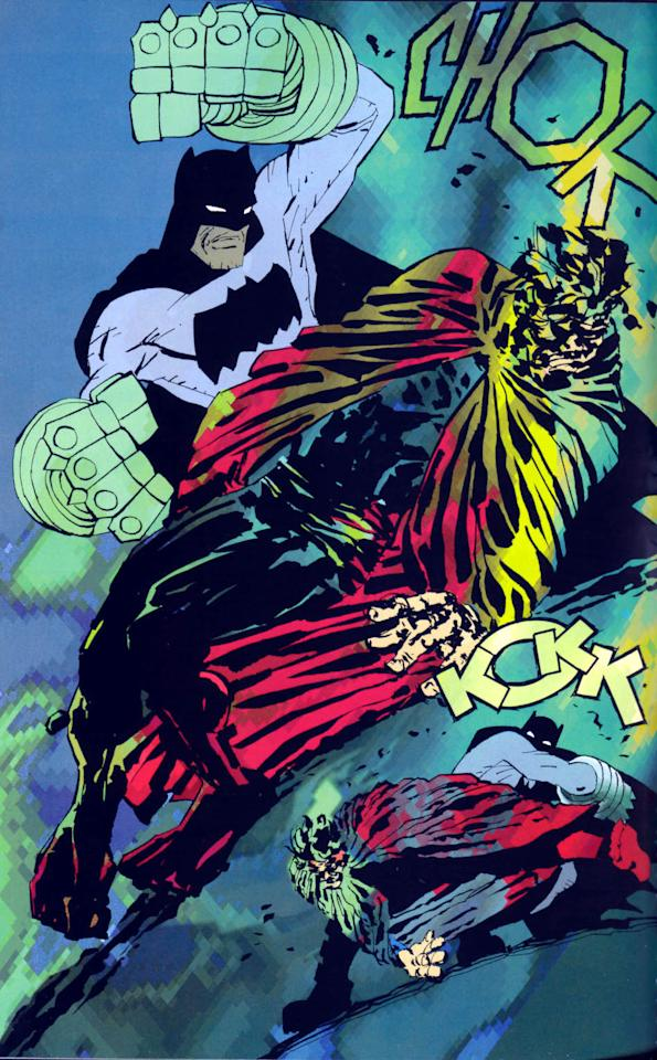 <p>In Miller's generally panned 2001-02 follow-up, Bats and Supes are at it again, and again Superman, in the thrall of a tyrannical president (a pawn of Lex Luthor) is ordered to bring in Batman. Bats, with a big assist from fellow Justice Leaguers, uses kryptonite gauntlets to beat down Superman.</p>