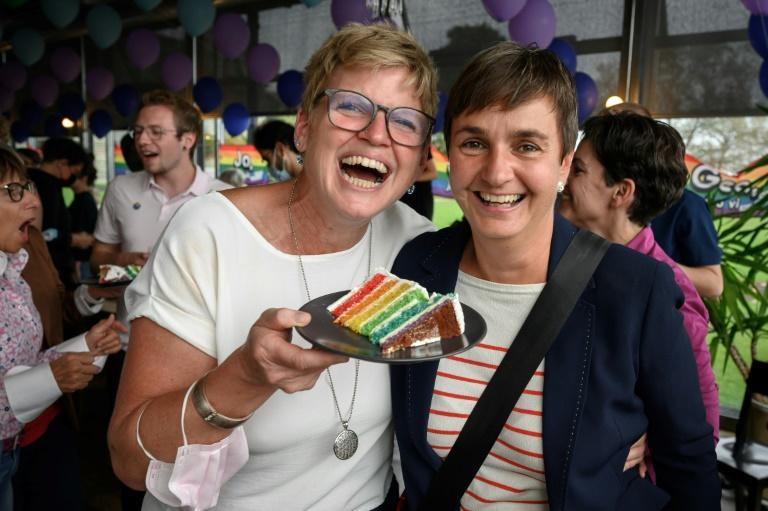 """Rainbow celebration in Bern: """"The Swiss have dropped a massive 'yes' into the ballot box,"""" a campaigner told AFP (AFP/Fabrice COFFRINI)"""