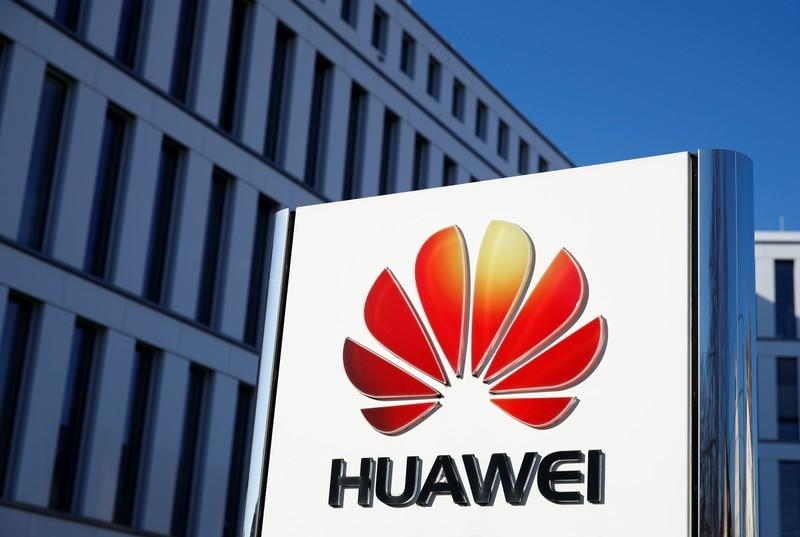 The logo of Huawei Technologies is pictured in front of the German headquarters of the Chinese telecommunications giant in Duesseldorf