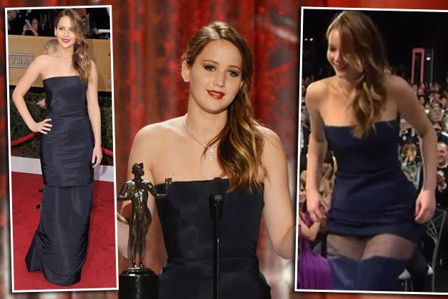Jennifer Lawrence in L.A.: Keine richtige Kleiderpanne (r.) (Bilder: Getty Images, YouTube)