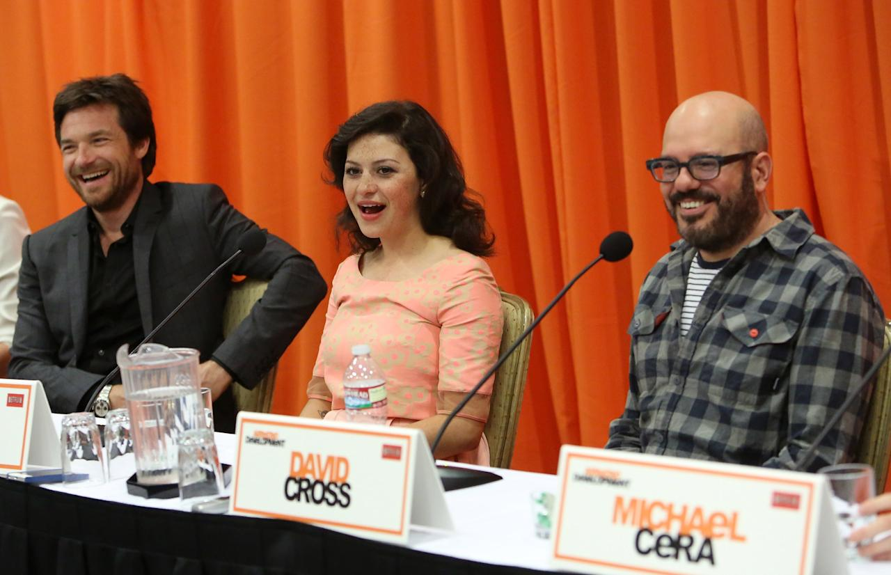 "UNIVERSAL CITY, CA - MAY 04: (L-R) Actors Jason Bateman, Alia Shawkat and David Cross attend The Netflix Original Series ""Arrested Development"" Press Conference at Sheraton Universal on May 4, 2013 in Universal City, California.  (Photo by Jesse Grant/Getty Images for Netflix)"