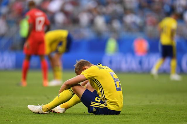 Ludwig Augustinsson of Sweden shows his dejection following the 2018 FIFA World Cup Russia Quarter Final match between Sweden and England at Samara Arena on July 7, 2018 in Samara, Russia. (Getty Images)