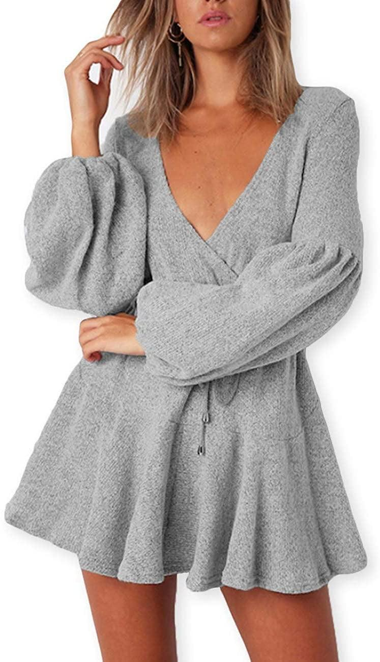 <p>This <span>Aooksmery Deep V-Neck Knitted Sweater Dress</span> ($20) would look great with knee-high boots.</p>