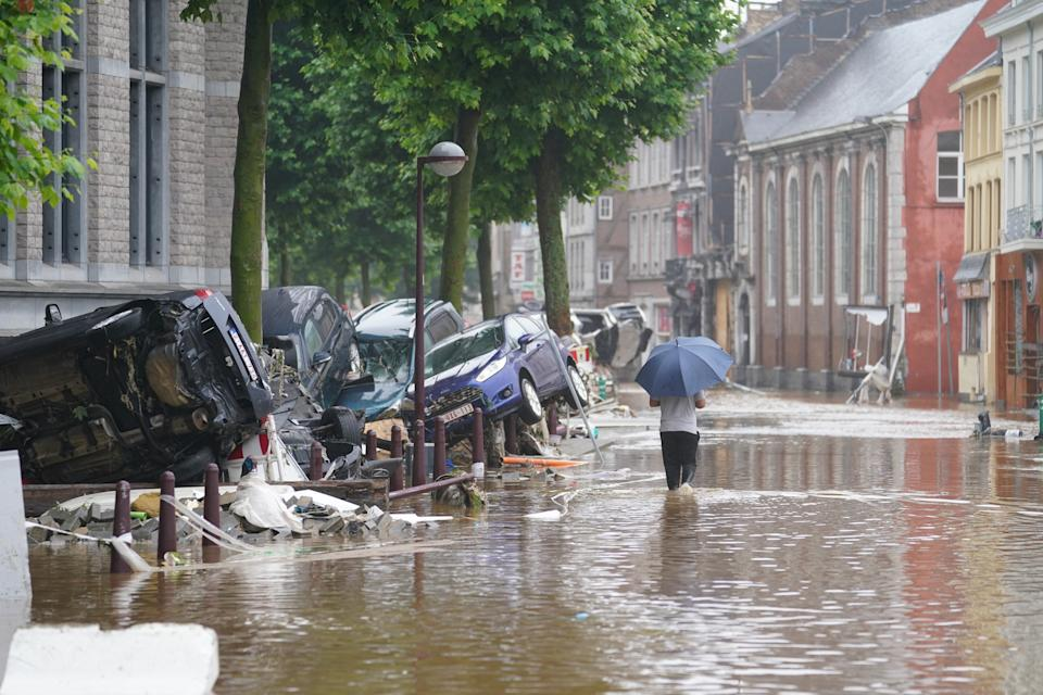 Illustration shows  the flooded streets in Verviers after heavy rainfall, Thursday 15 July 2021. The provincial disaster plan has been declared in Liege, Luxembourg and Namur provinces after large amounts of rainfall. Water in several rivers has reached alarming levels. BELGA PHOTO ANTHONY DEHEZ (Photo by ANTHONY DEHEZ/BELGA MAG/AFP via Getty Images)