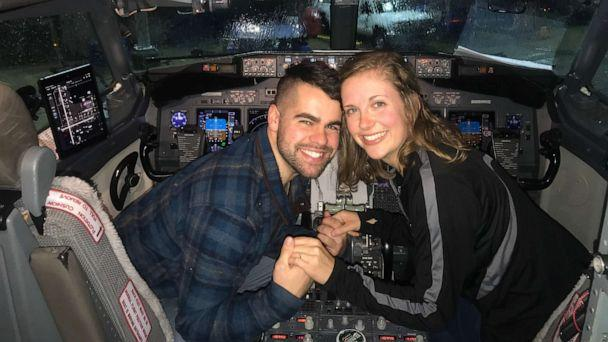 PHOTO: Nick Boucher and Emily Weindorf celebrated their proposal in the cockpit. (Southwest Airlines)