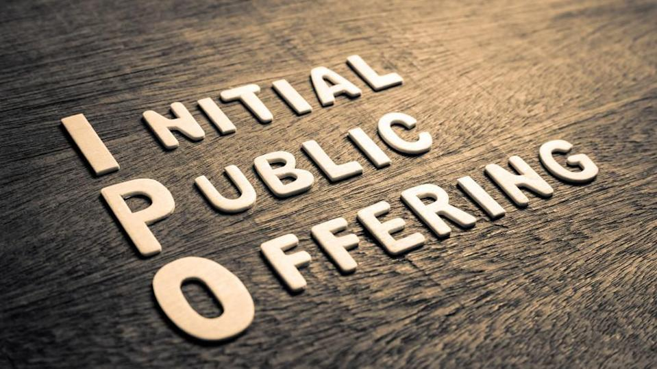 IPO abbreviation of Initial Public Offering text by wood letters