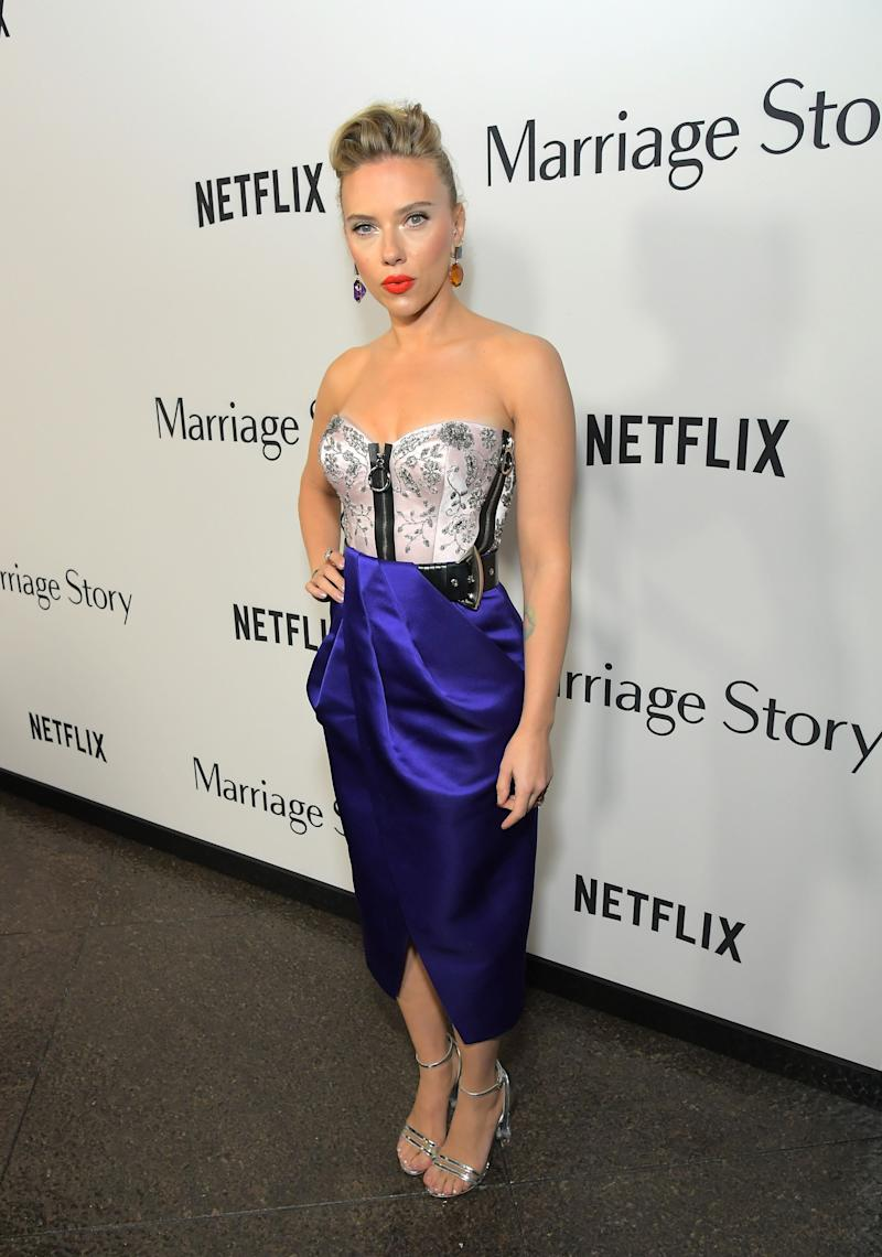 """Scarlett Johansson at the premiere of """"Marriage Story"""" in Los Angeles on Nov. 5."""