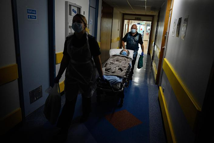 Image: Non-Covid-19 patient being moved (Leon Neal / Getty Images file)
