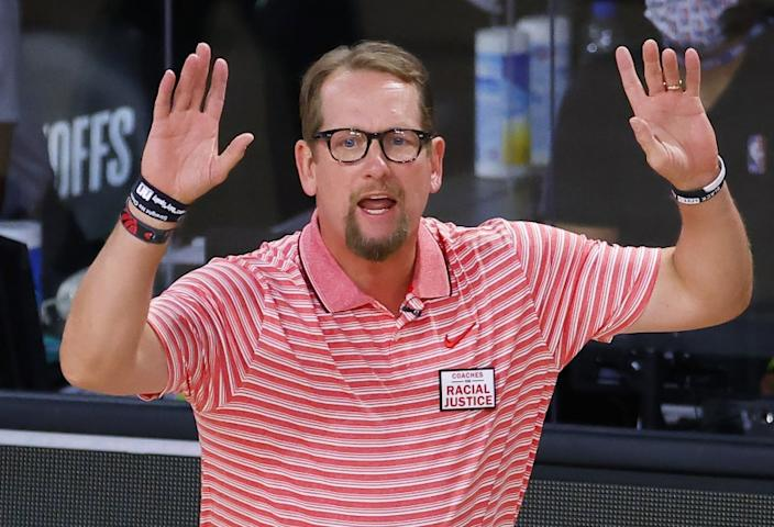 "Toronto Raptors coach Nick Nurse yells instructions during Game 1 of the team's first-round playoff series. <span class=""copyright"">(Kevin C. Cox / Associated Press)</span>"
