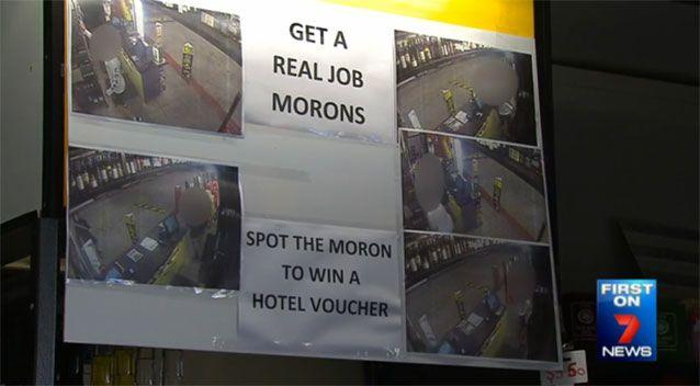 Fighting back: this board was one way in which the Old Spot Hotel fought back against shoplifters. Photo: 7 News