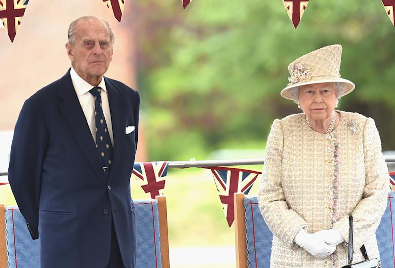 Queen Elizabeth and Prince Philip on a royal visit earlier this year.  (Stuart C. Wilson via Getty Images)