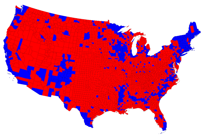 For election results by county, the traditional map breaks down the red and blue winners. Again, red appears to dominate.