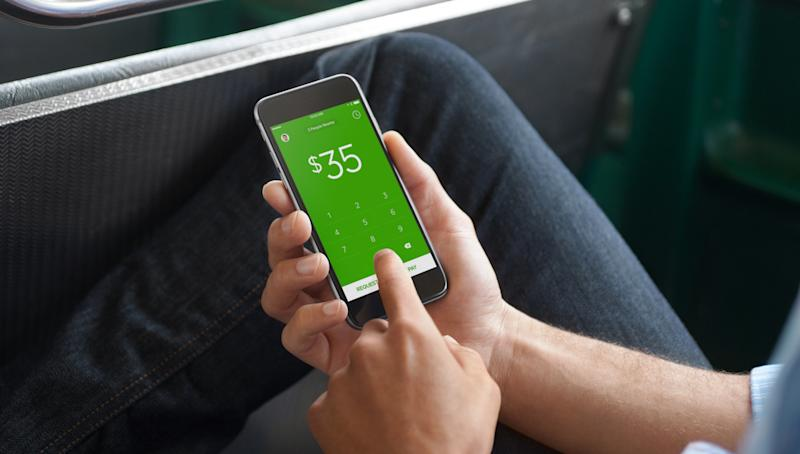 Person using Square Cash App on a phone